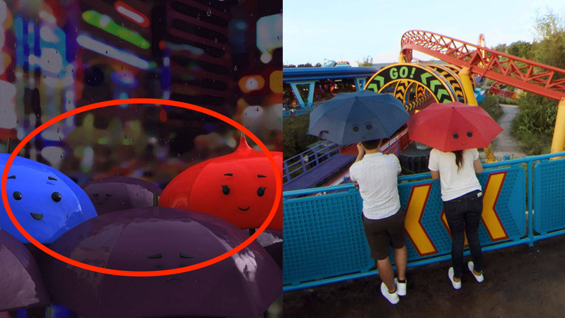 "A pair of guests holding umbrellas in reference to the Pixar Short, ""The Blue Umbrella"""