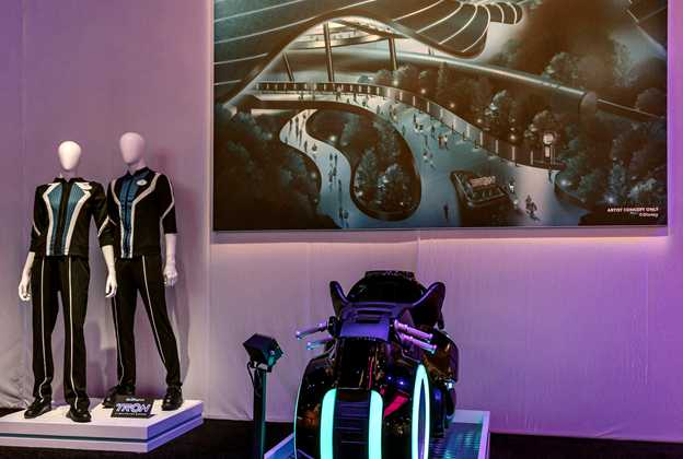 TRON Lightcycle Run costume and ride vehicle