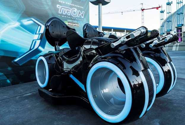 TRON Lightcycles on display in Tomorrowland
