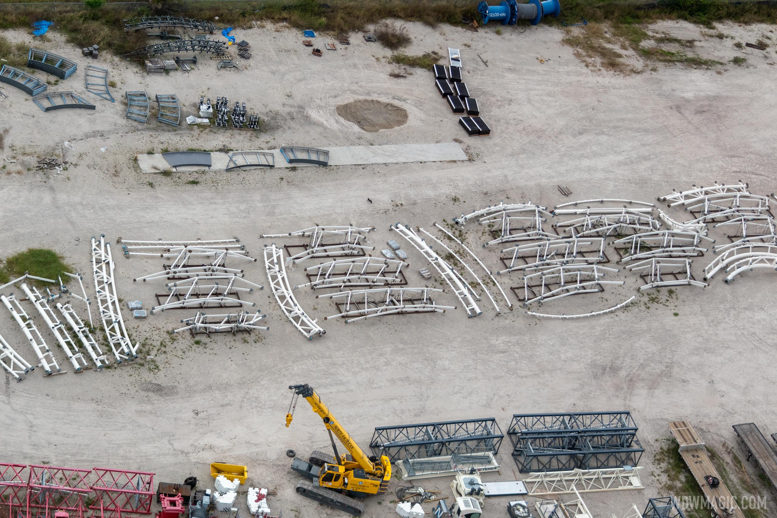 TRON Canopy parts awaiting installation - Aerial photo for WDWMAGIC by @cchard