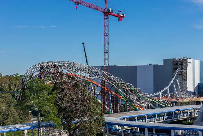 TRON Lightcycle Run construction - December 2 2020