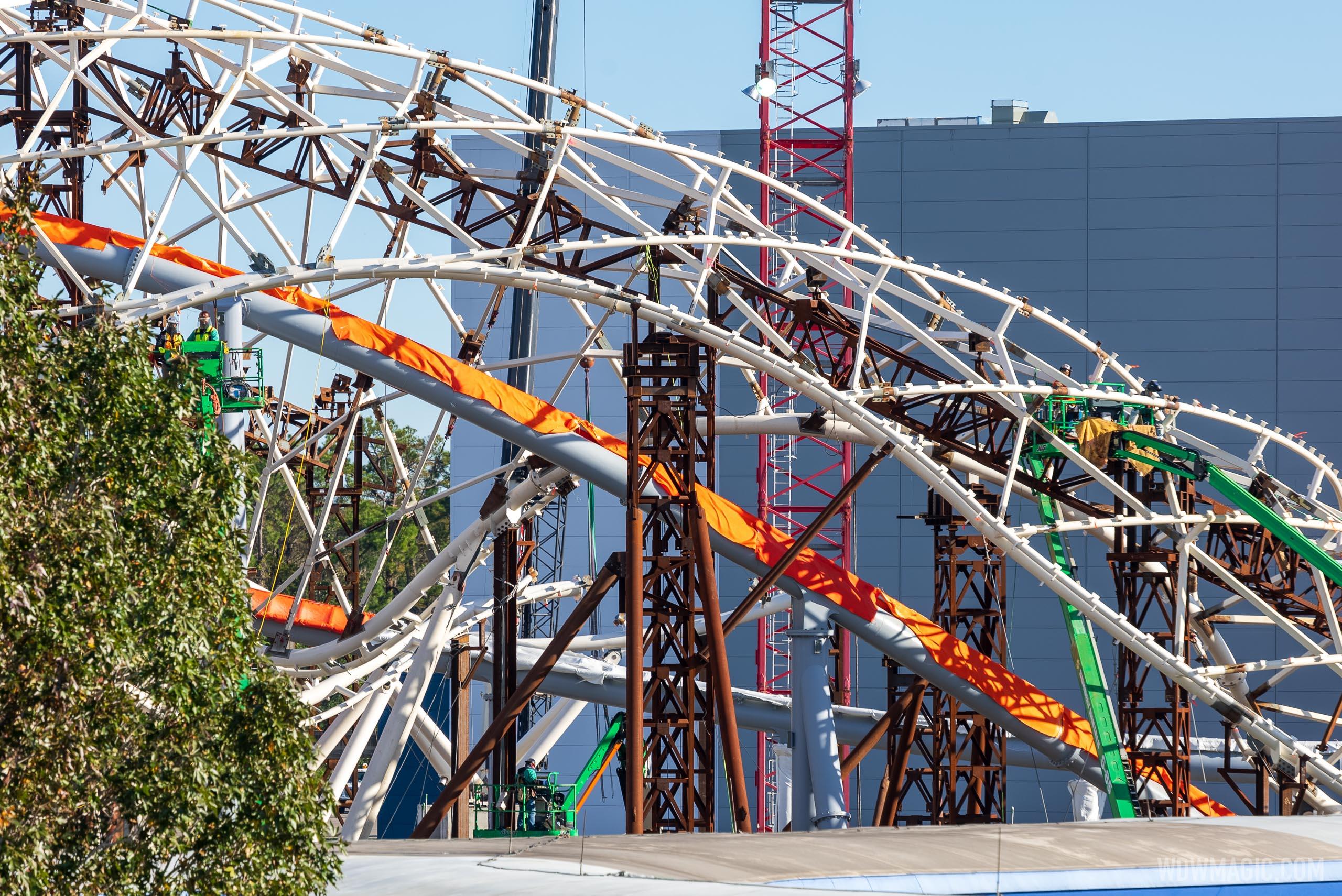 TRON Lightcycle Run construction - December 2 2020