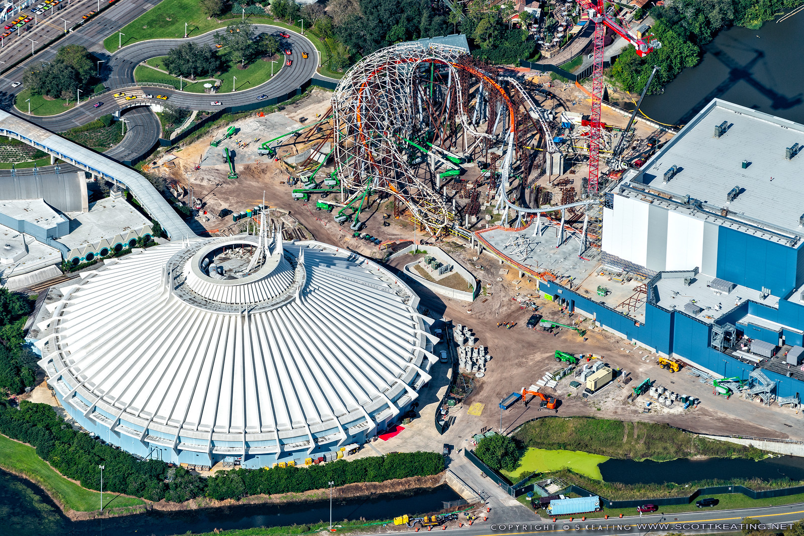 Aerial view of TRON Lightcycle Run construction - Early December 2020