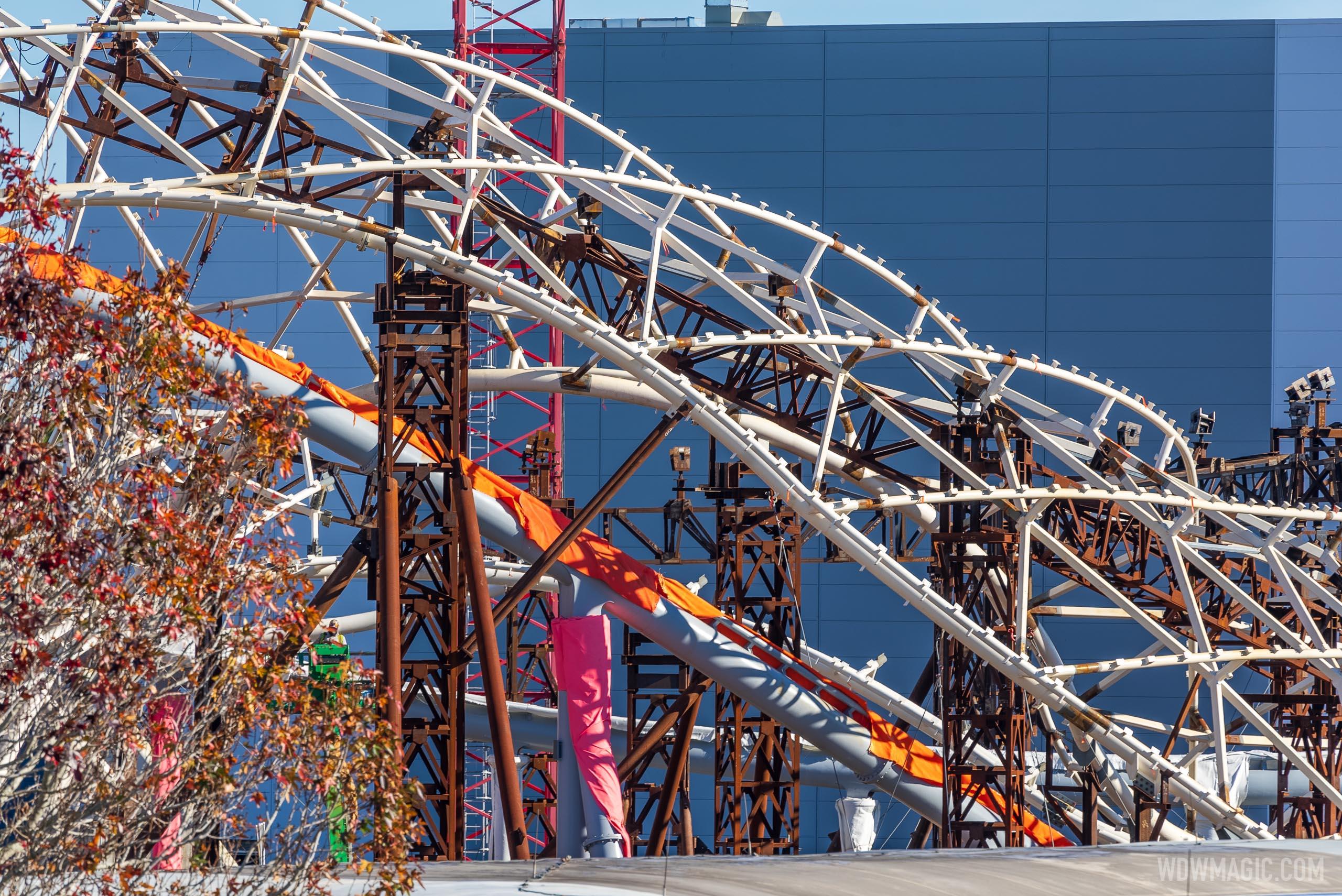 TRON Lightcycle Run construction - January 4 2021