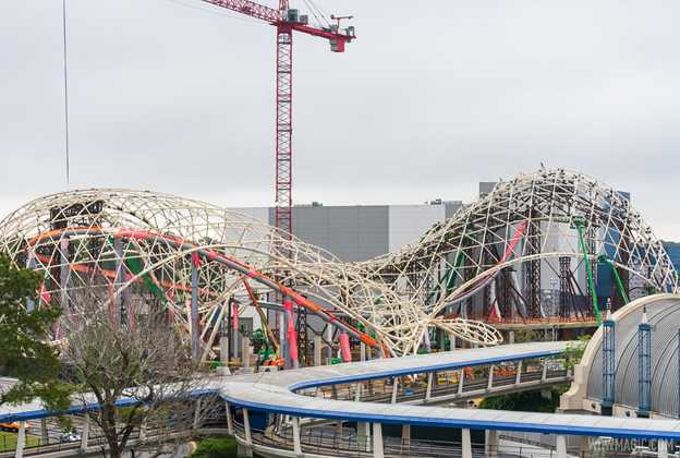 TRON Lightcycle Run construction - March 29 2021