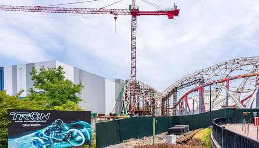 Support structure being removed from the TRON Lightcycle Run canopy