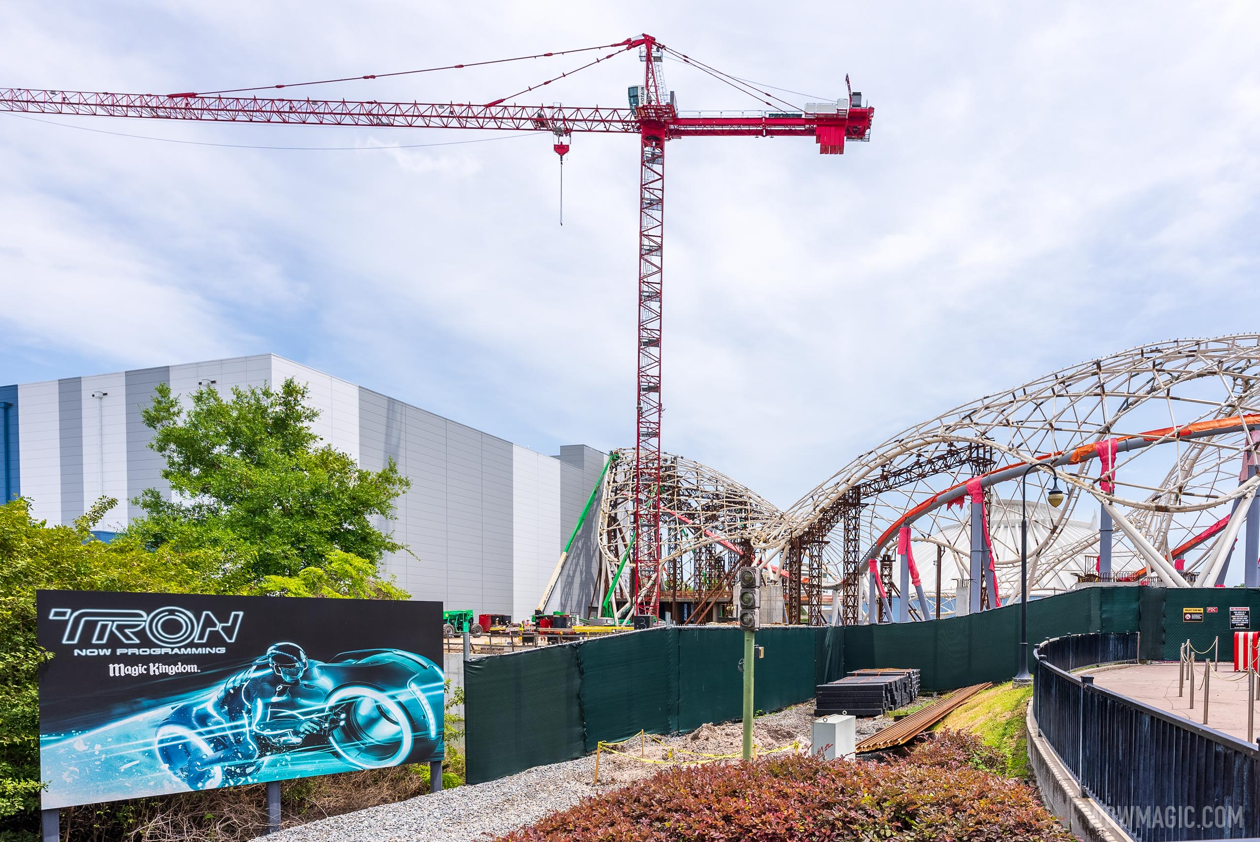 TRON Lightcycle Run construction - April 16 2021