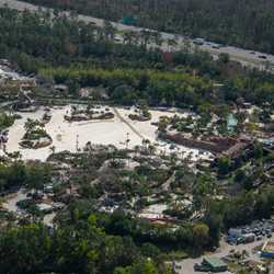 Aerial view of Typhoon Lagoon wave pool emptied
