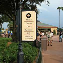 New directional signage in World Showcase