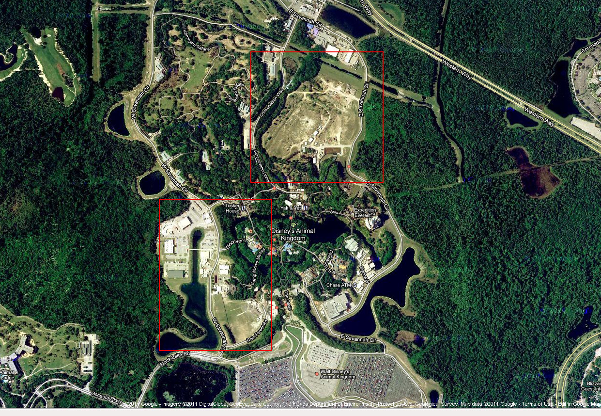 Possible Construction Sites At Disneys Animal Kingdom Photo Of - Satellite map sites