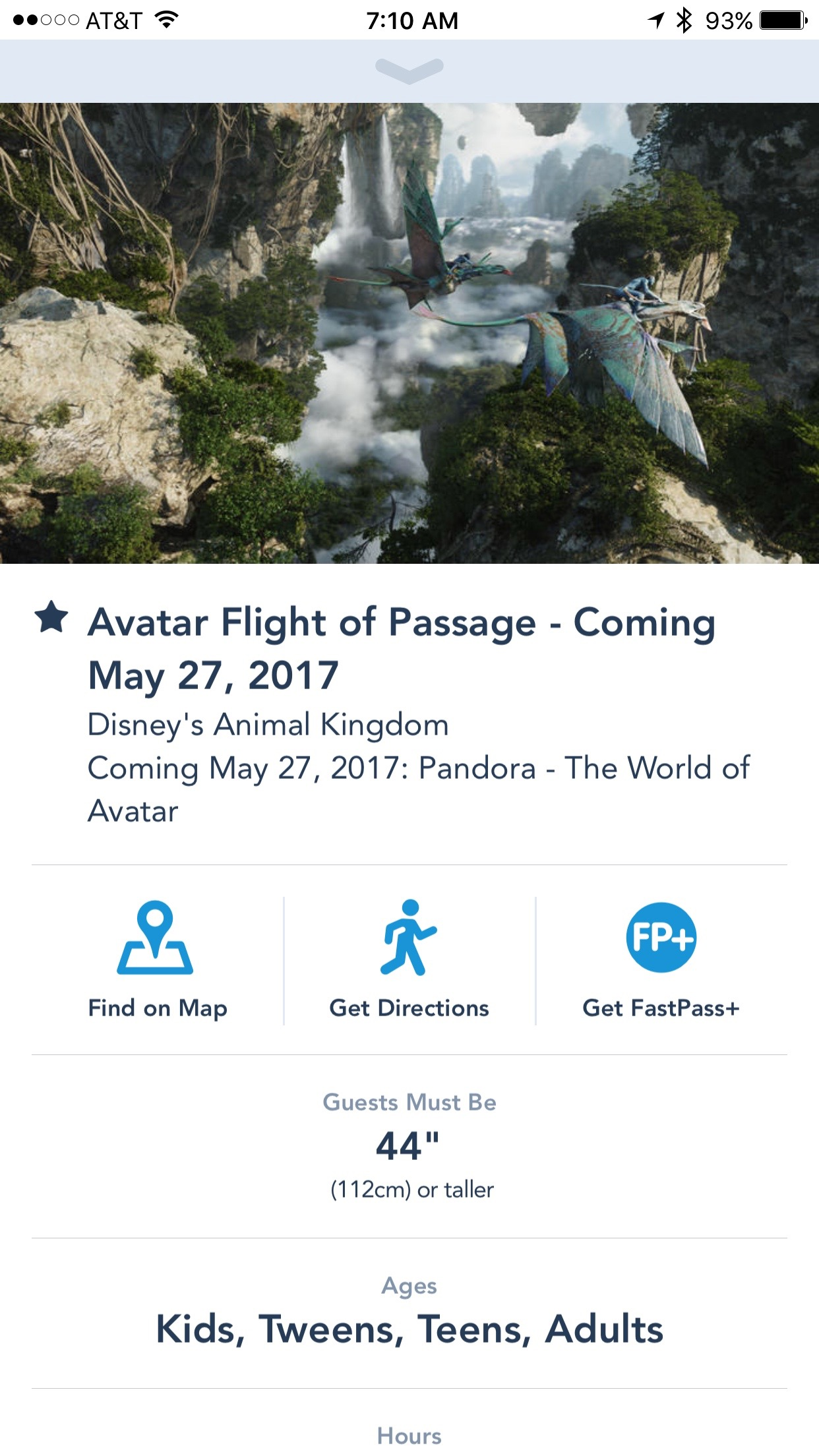 Flight of Passage FastPass in My Disney Experience