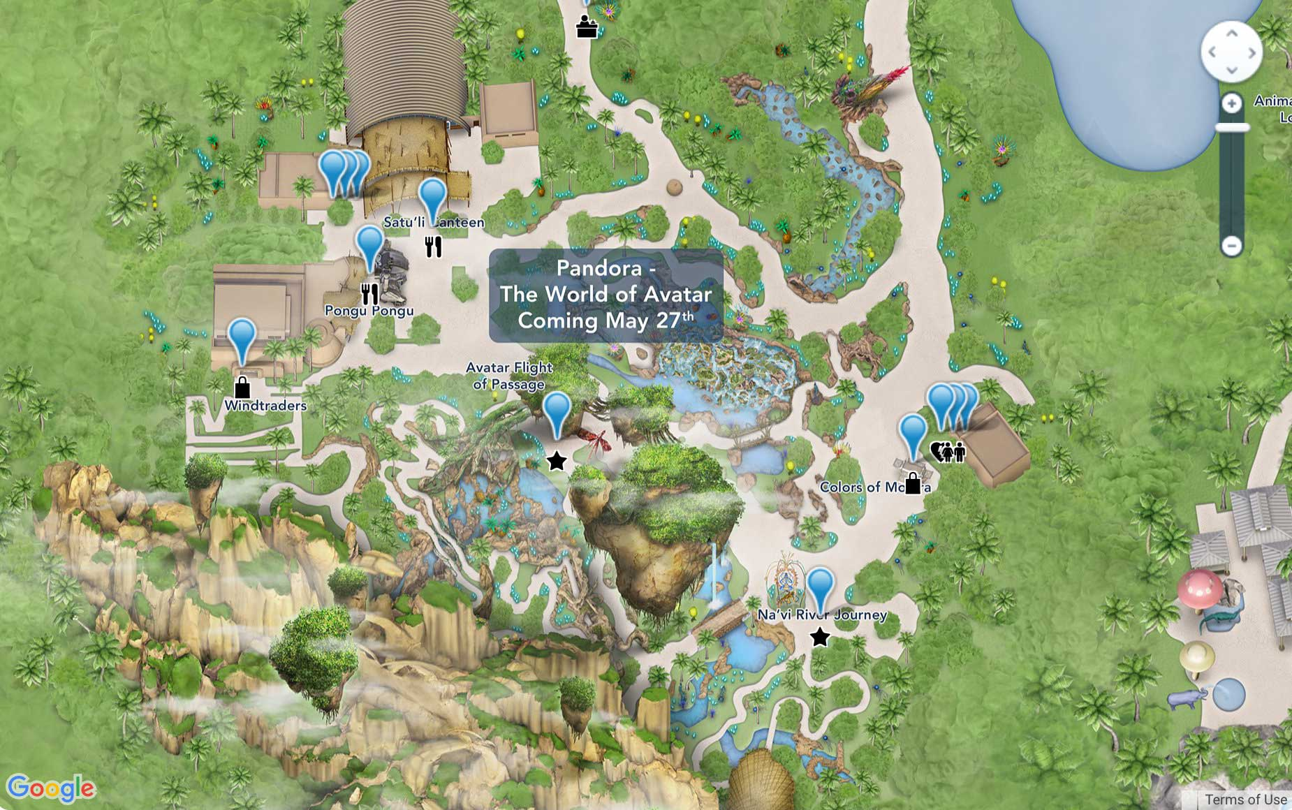 Photo disneys online walt disney world maps updated to include pandora the world of avatar map gumiabroncs Image collections