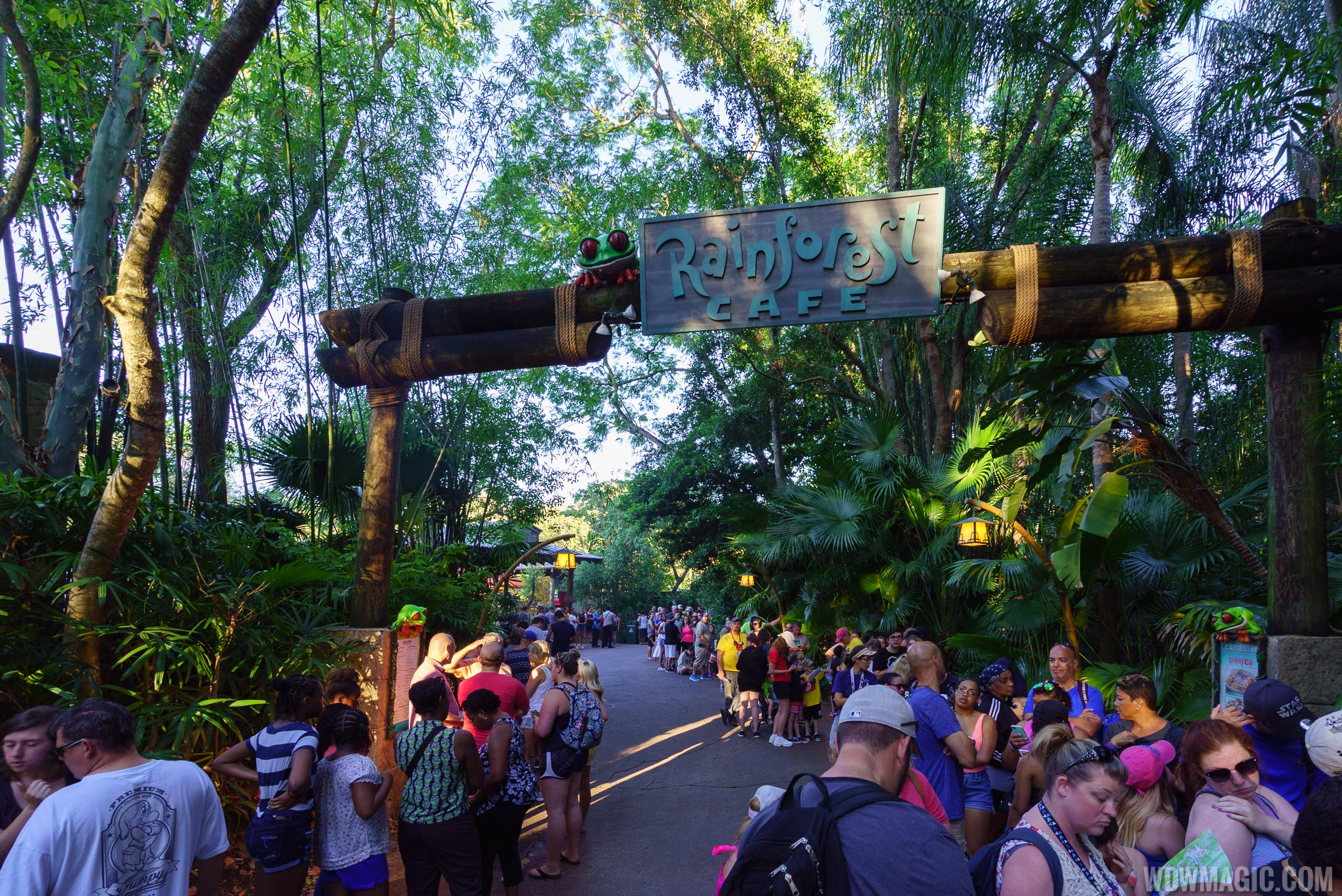 The Rainforest Cafe area is being used as queue space