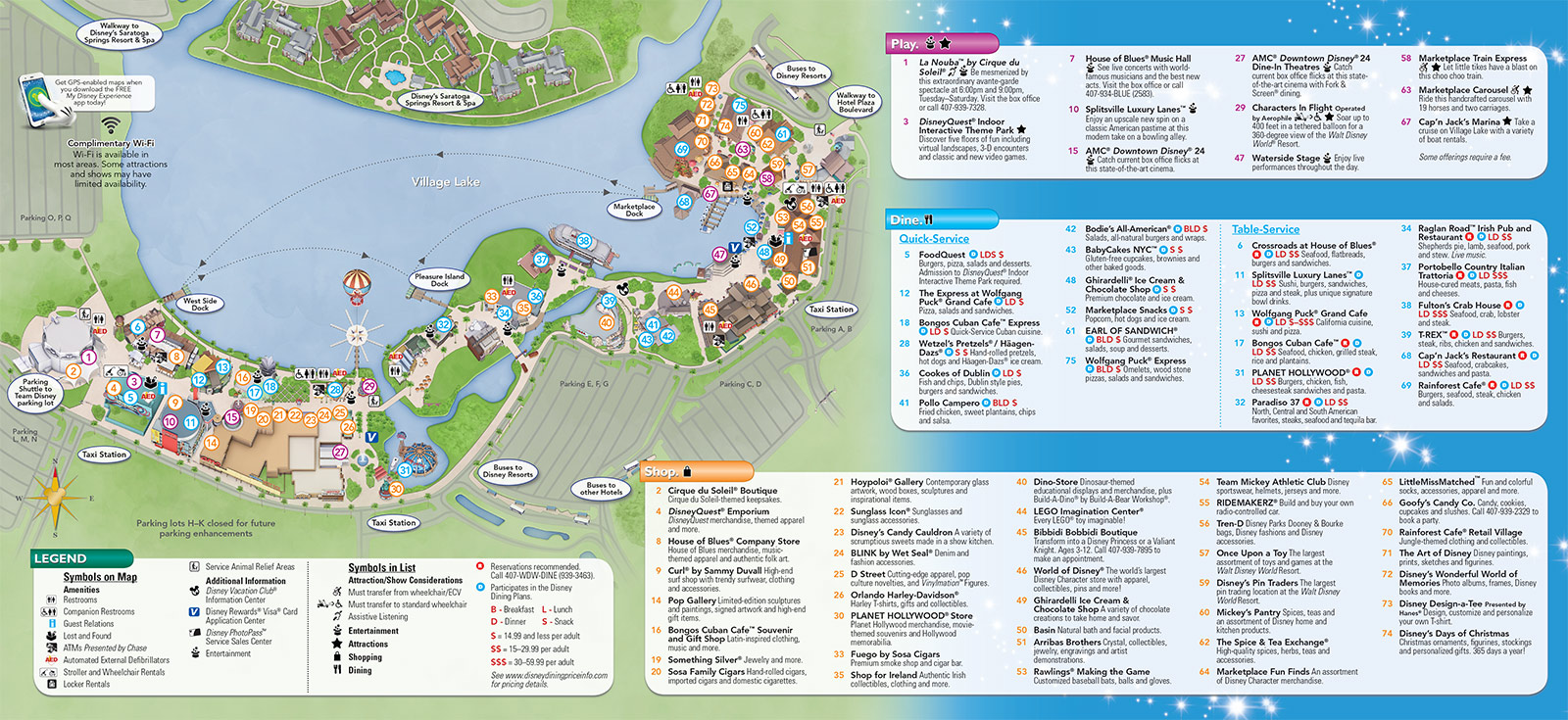 Updated Downtown Disney guide map featuring Pleasure Island demolition