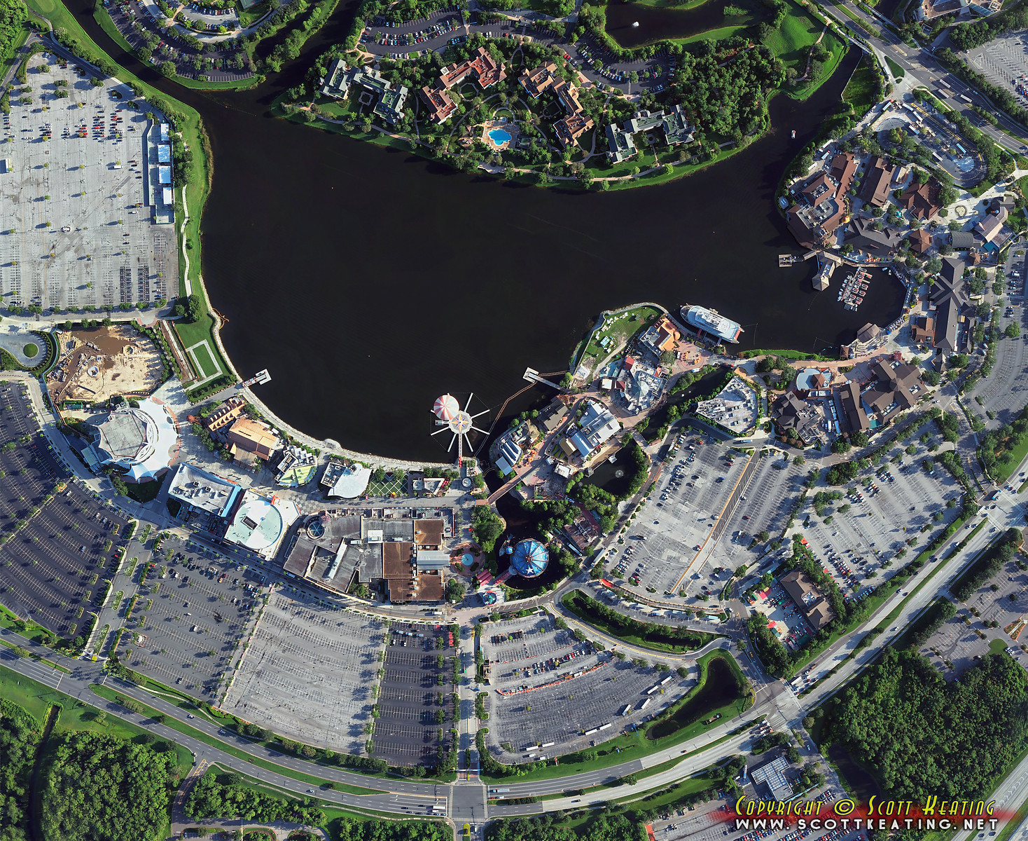 Disney Springs construction - aerial view July 2013