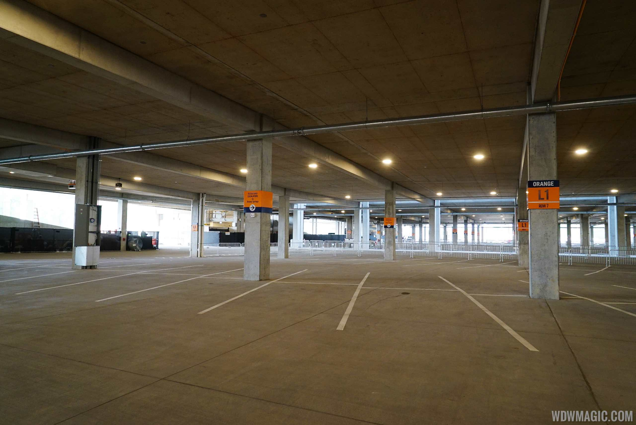 Inside the Disney Springs parking garage