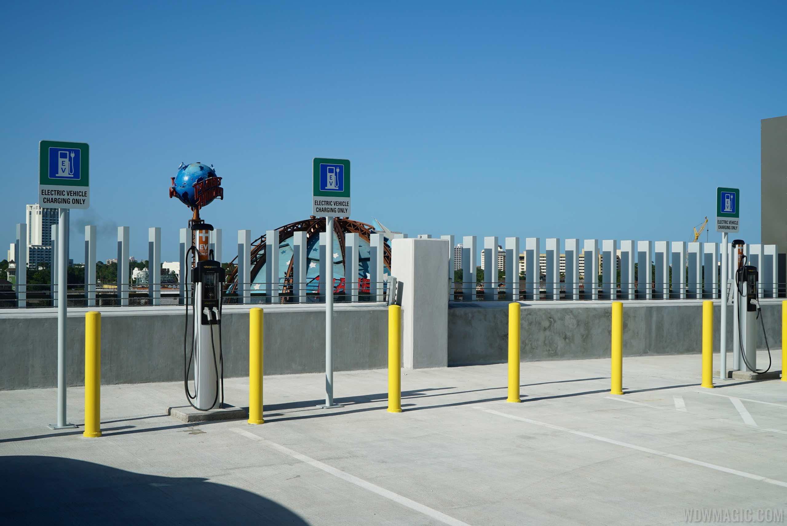 Electric Vehicle EV chargers at Disney Springs Orange Parking Garage