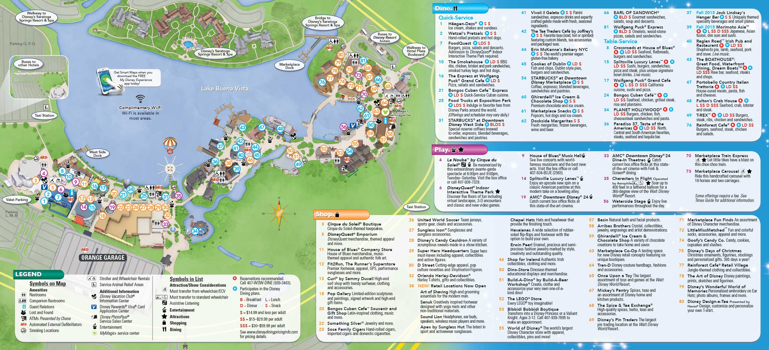 PHOTOS New Downtown Disney Guide Map Includes Disney Springs Name - Paris map 2016