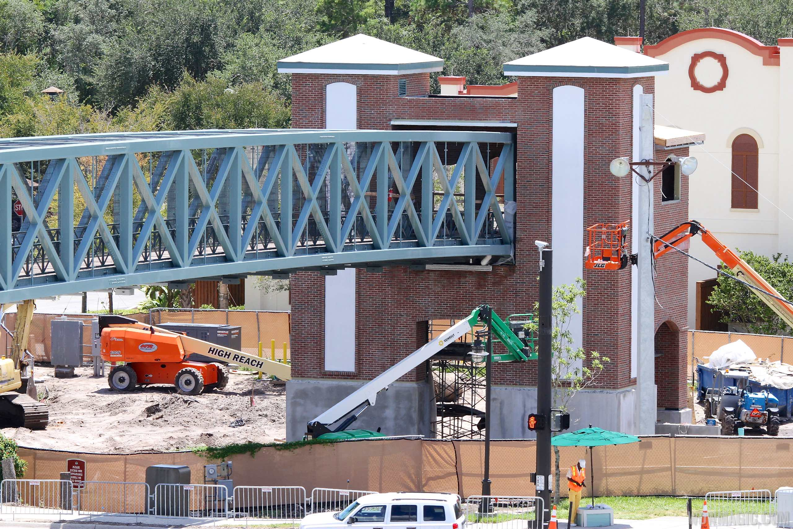 Buena Vista Drive pedestrian bridge construction close-up