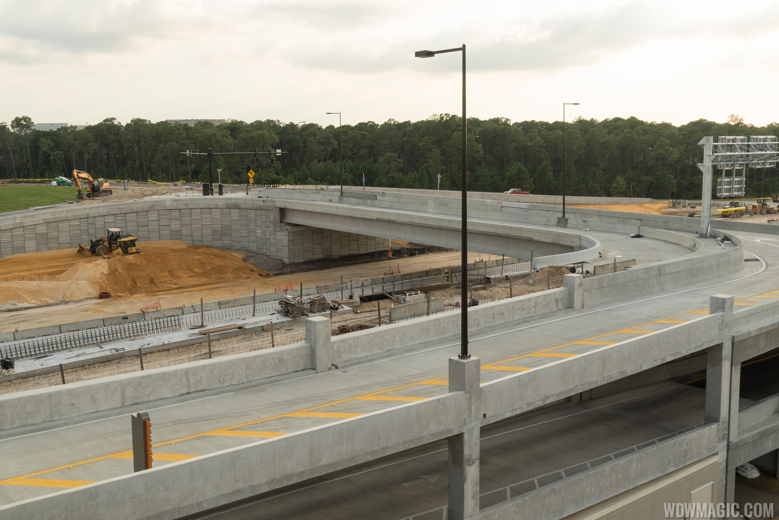Flyover ramp into the parking garage