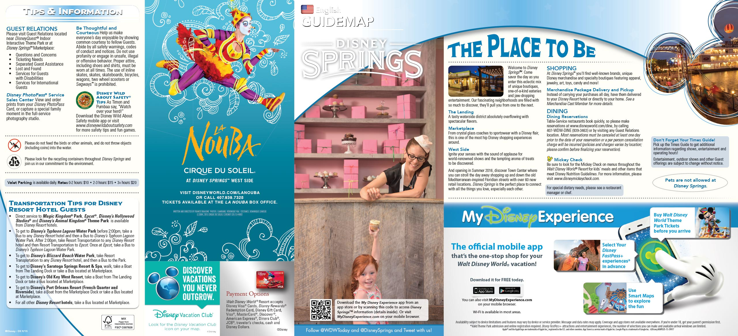 Disney Springs guide map - Front