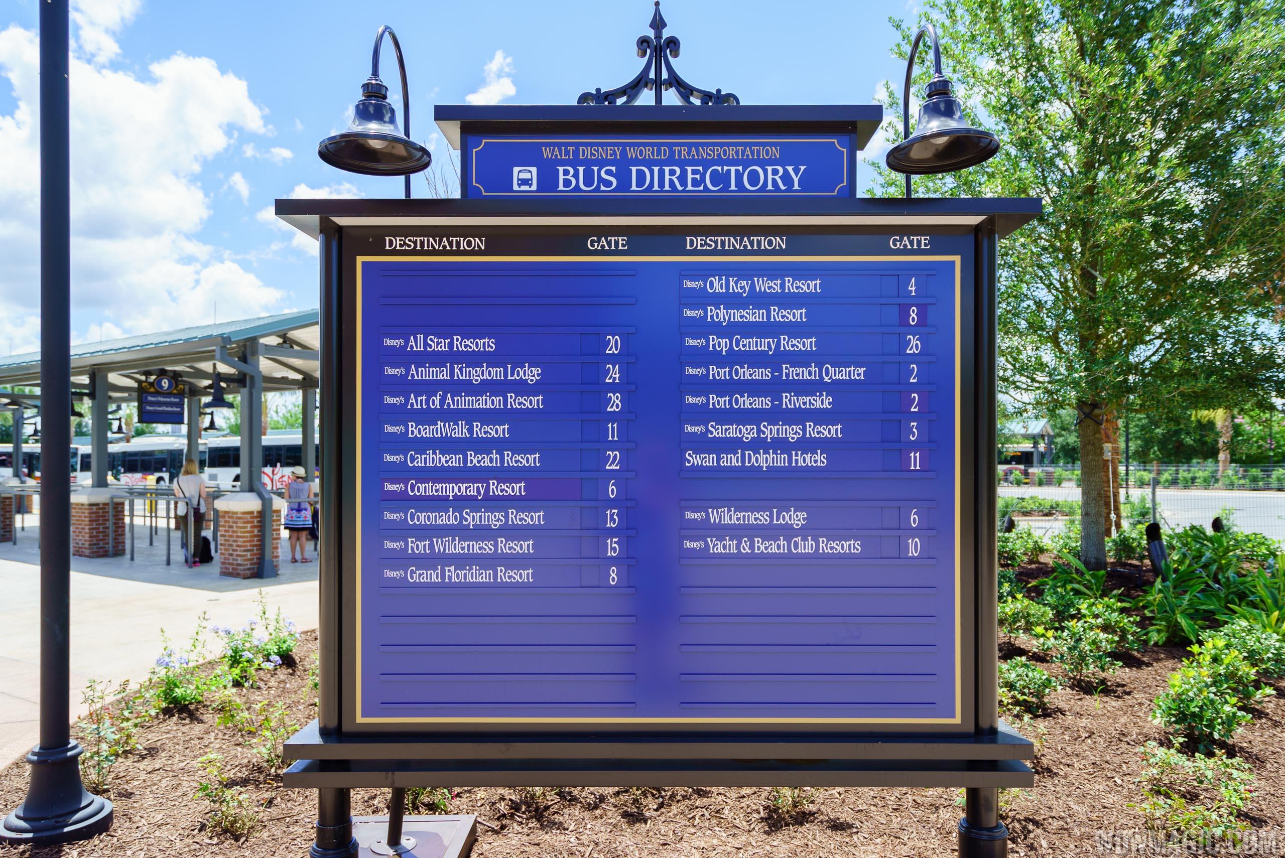 Disney Springs bus stop directory