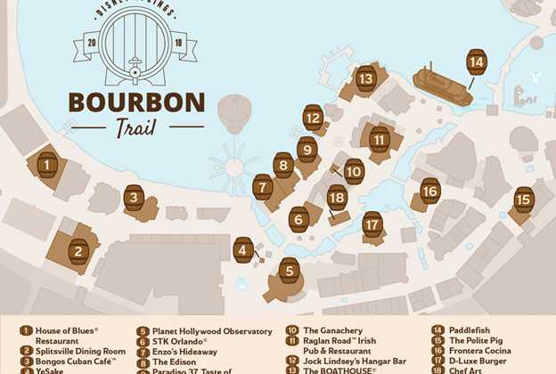 Disney Springs Bourbon Trail map