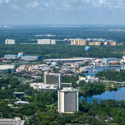 Aerial view of the Disney Springs Resort area hotels on Hotel Plaza Blvd