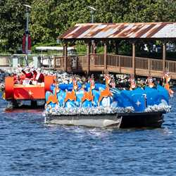 Santa Claus on the lake at Disney Springs 2020