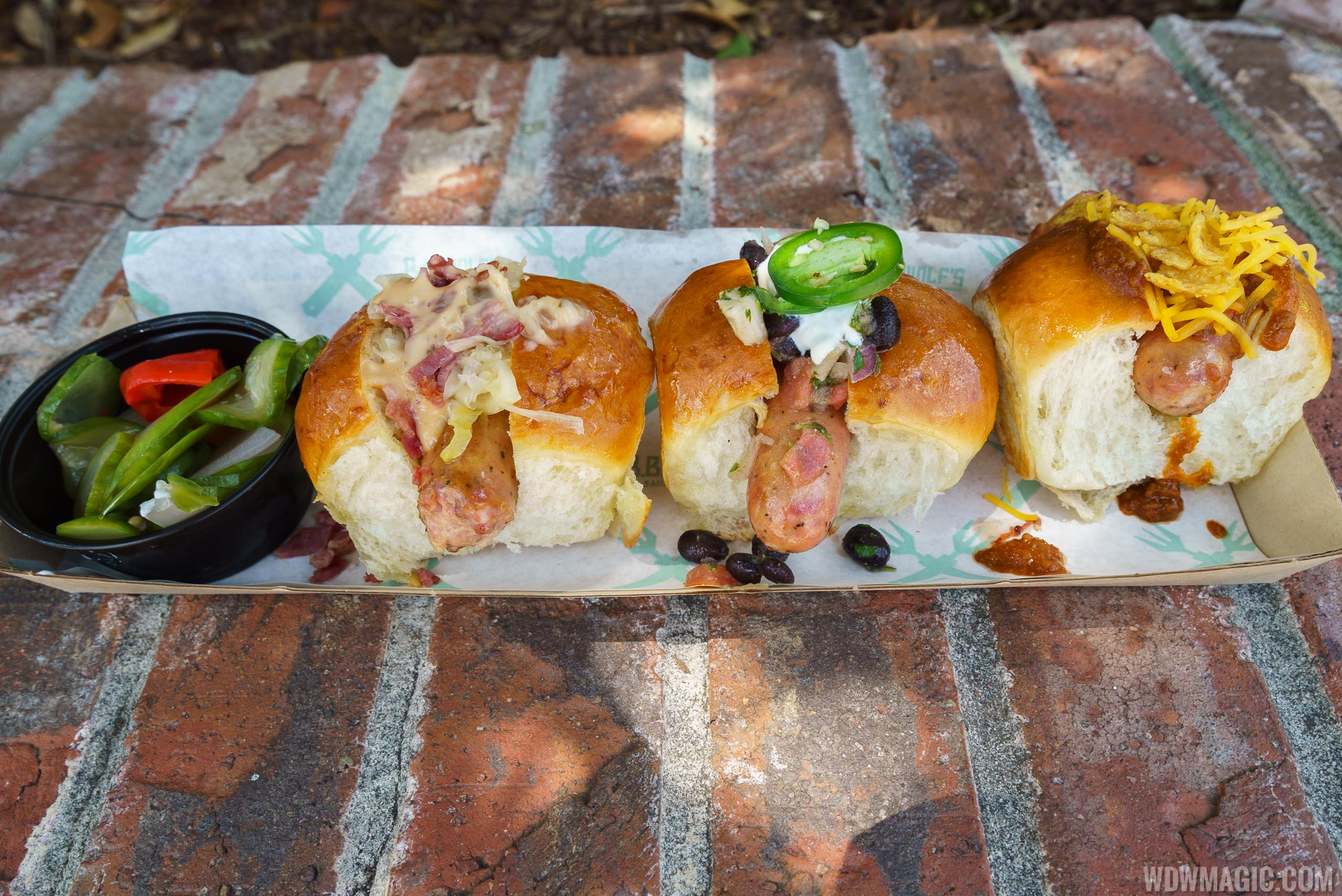 B.B. Wolf's Sausage Co. - 3 Little Pigs Sampler - Reuben, Bacon-wrapped with Black Bean Salsa, and Chili Cheese