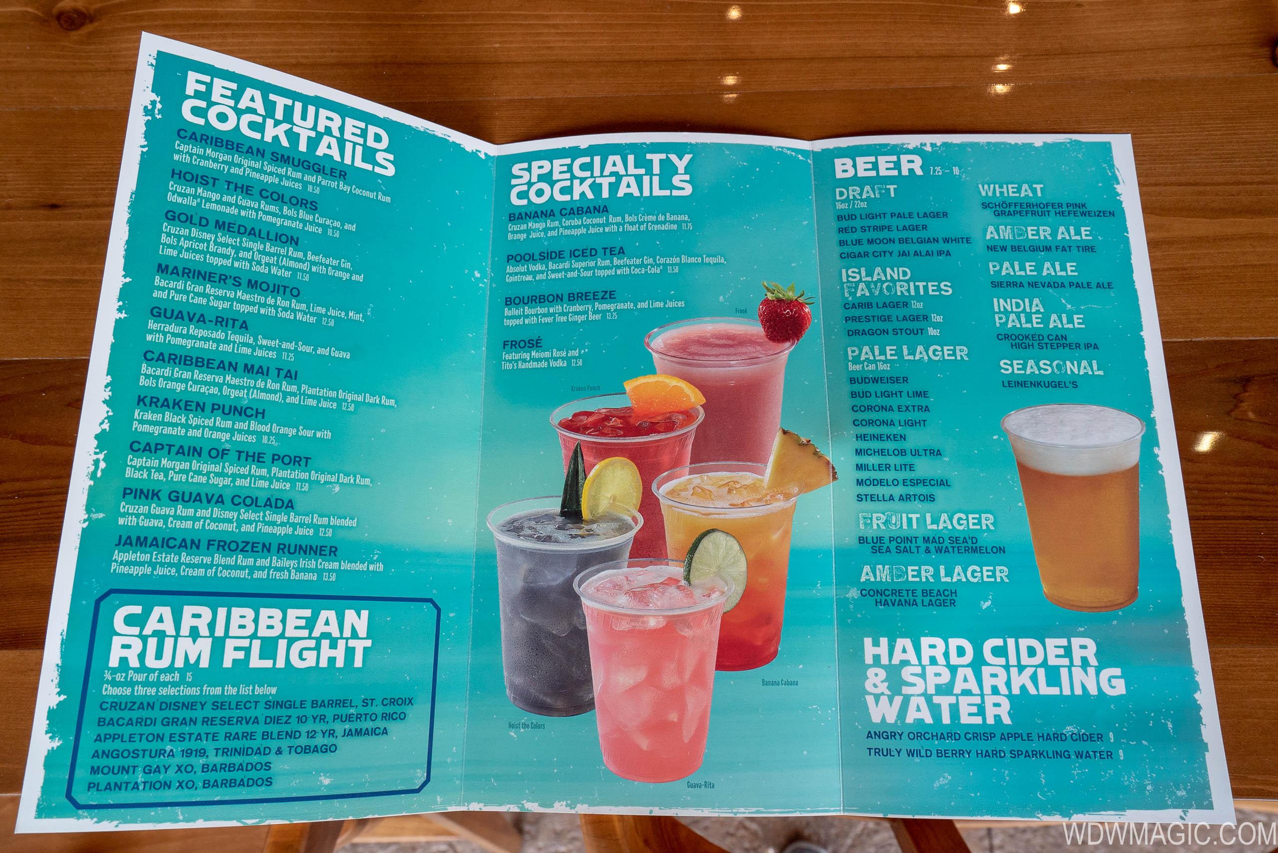 Banana Cabana drink menu