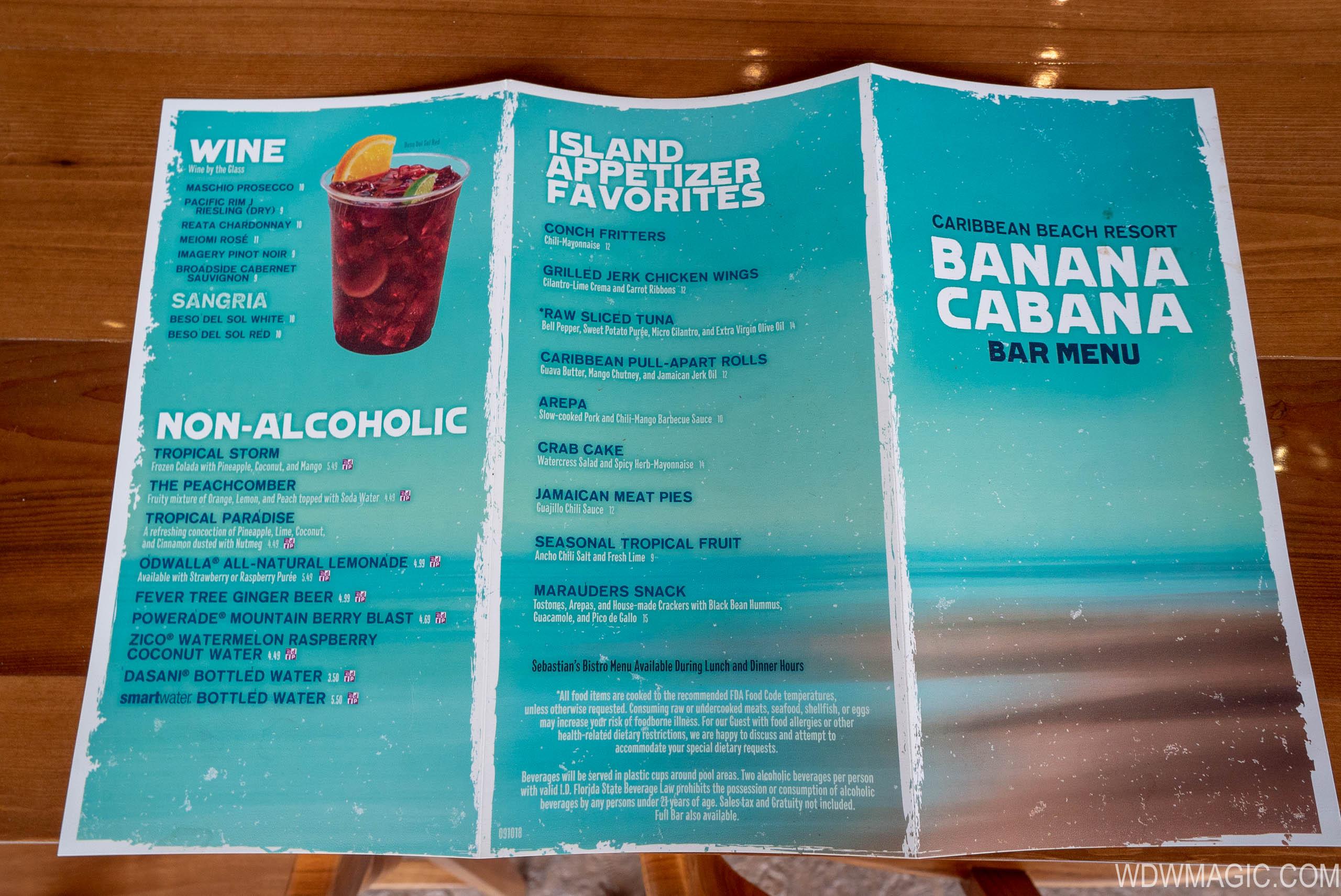 Banana cabana food menu