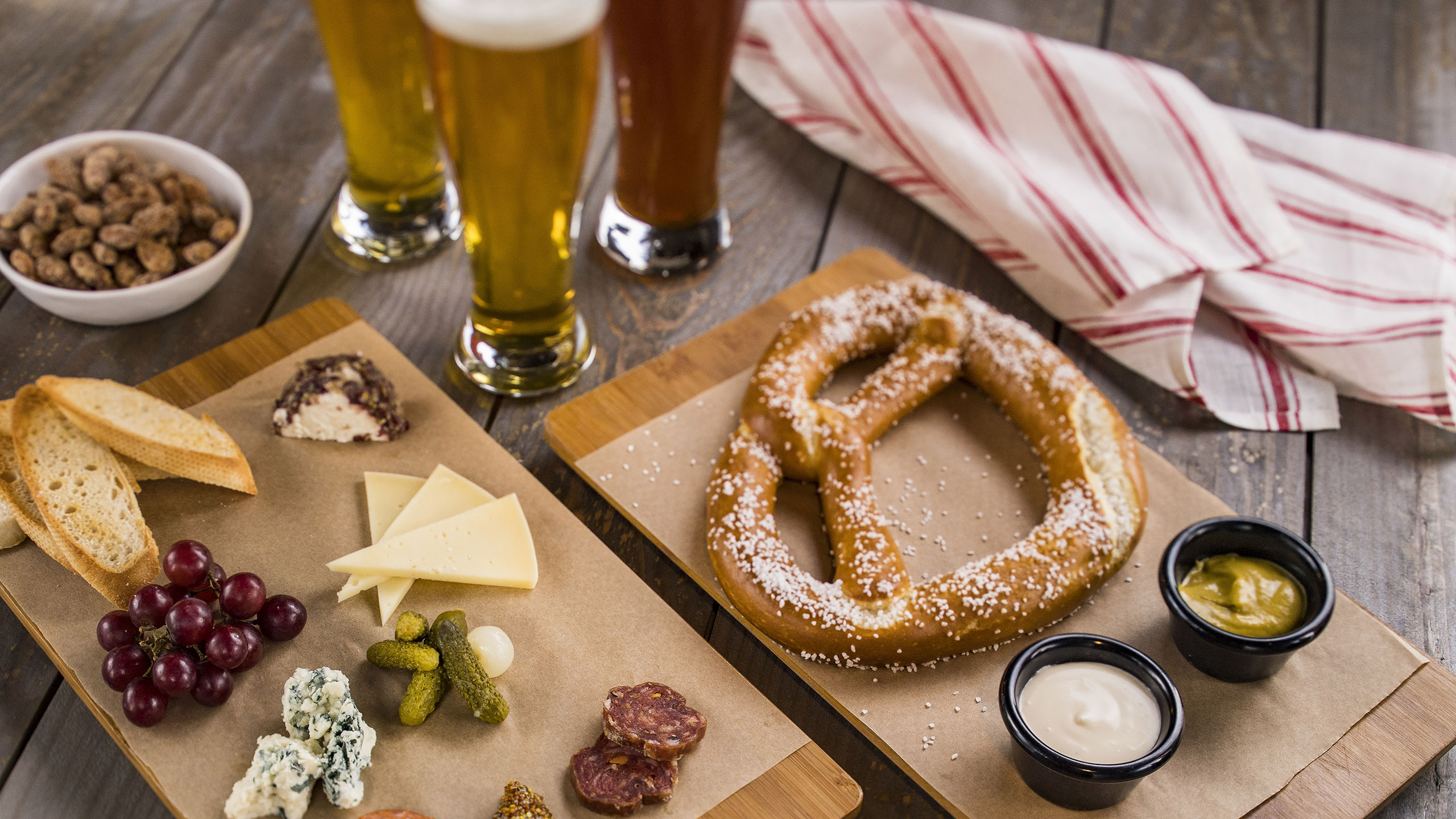 California Cheese and Charcuterie Plate and the Bavarian Pretzel with beer-cheese Fondue and Spicy Mustard