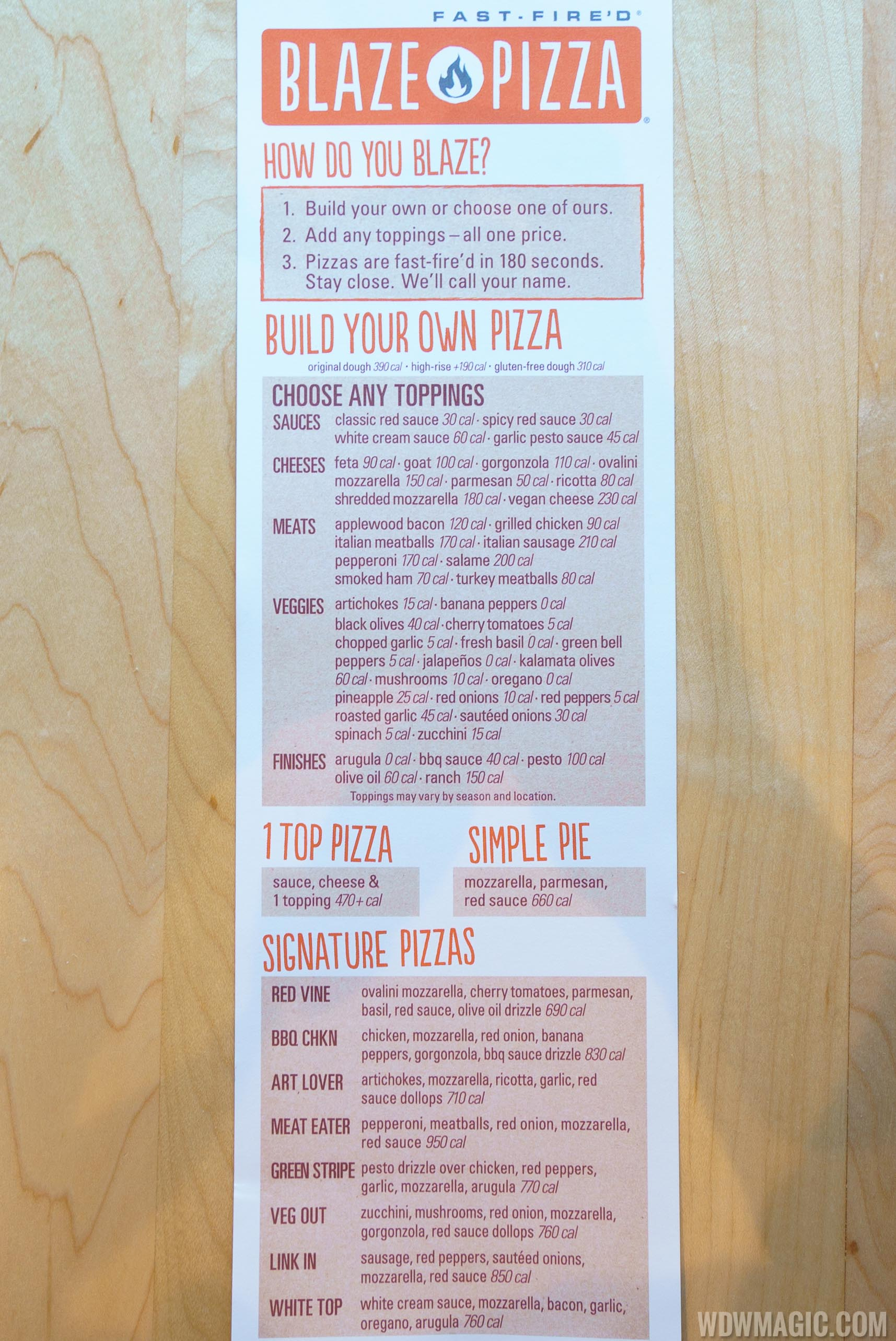 Blaze Pizza Disney Springs menu front