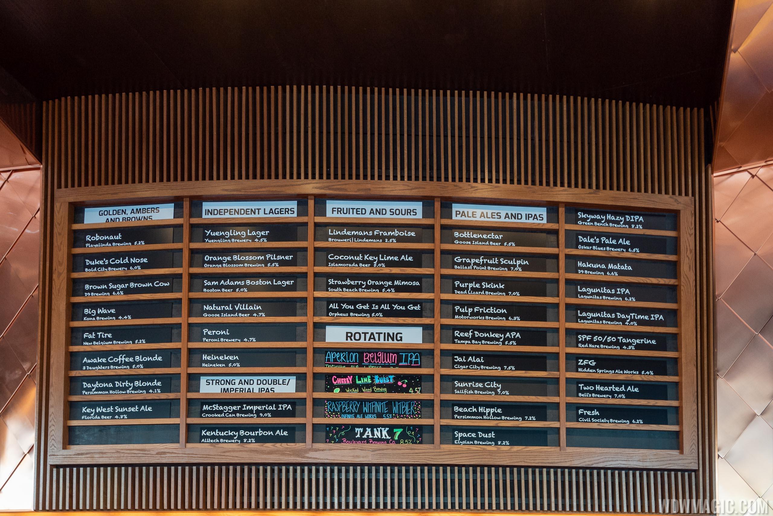 City Works Disney Springs beer menu board
