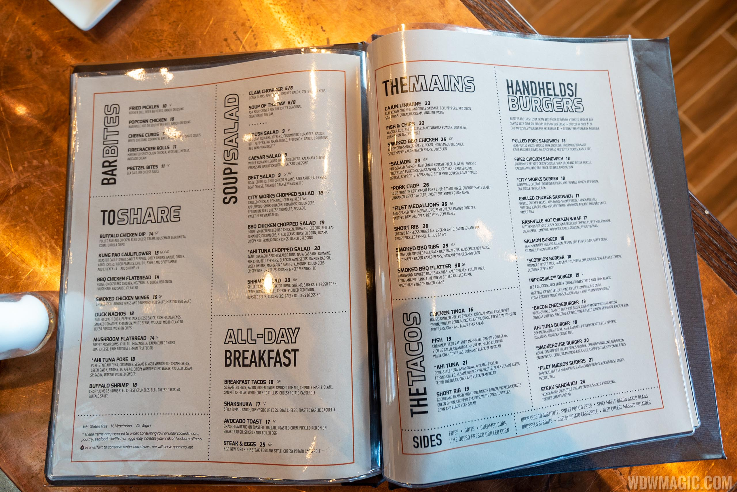 City Works Eatery and Pour House Disney Springs - menu