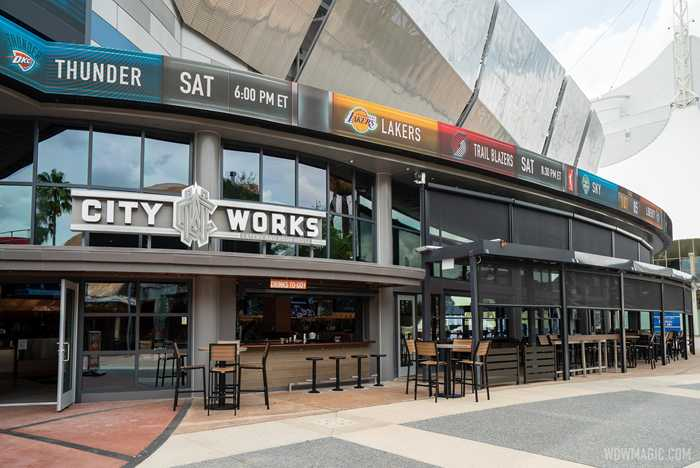 Completed outdoor seating canopy at City Works Eatery and Pour House