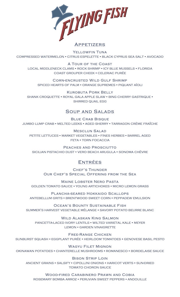 Flying Fish new menu