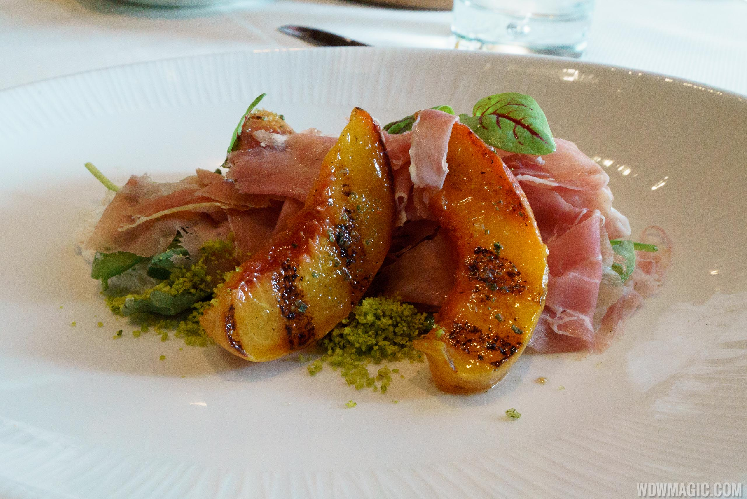 Flying Fish - Peaches and Prosciutto appetizer
