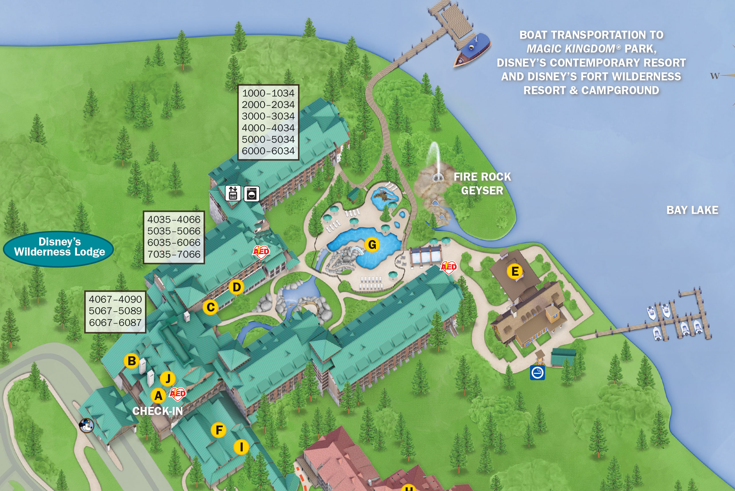 Geyser Point Bar and Grill is at location E on the map