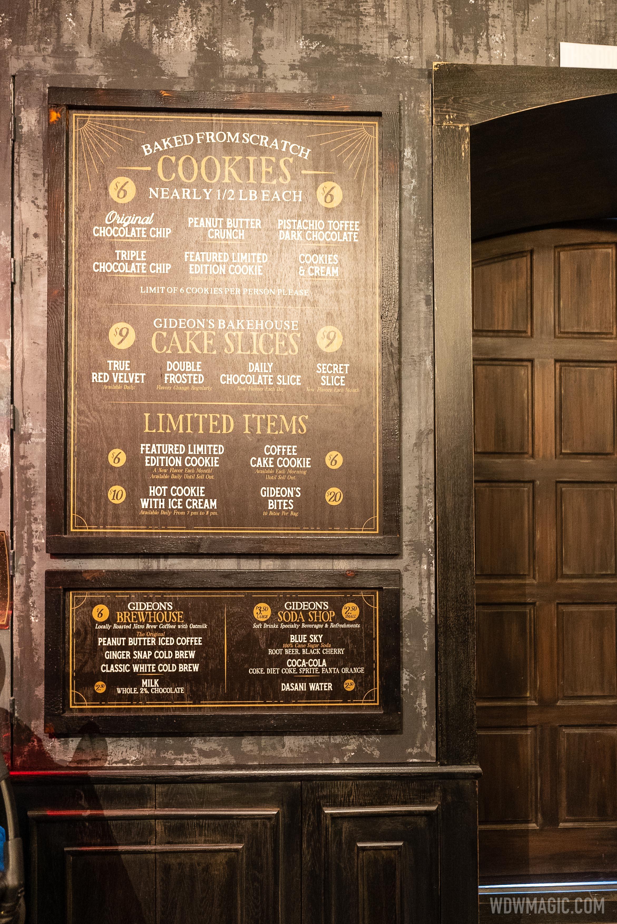 Gideon's Bakehouse Disney Springs menu
