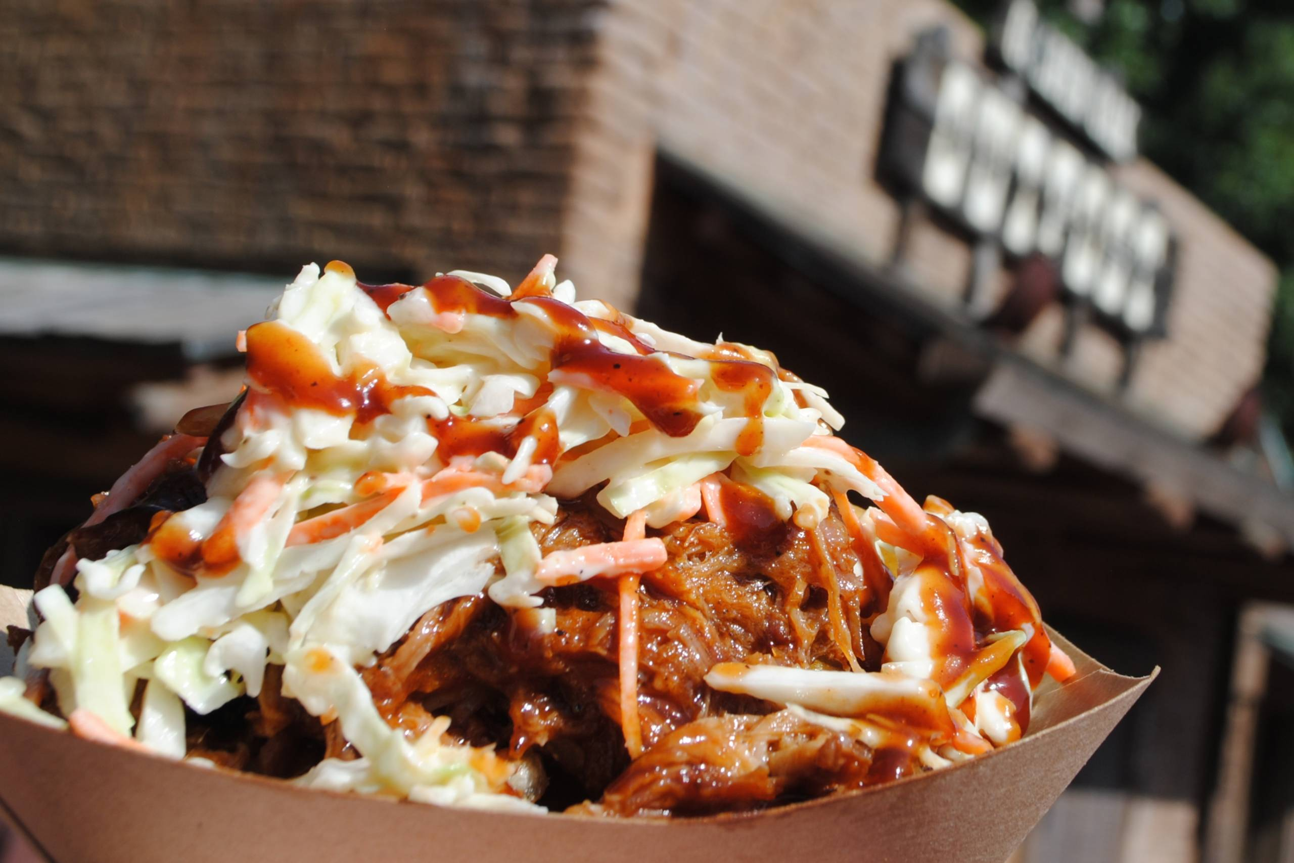 Barbecue Pork Waffle Fries topped with Barbecue Pork and Coleslaw