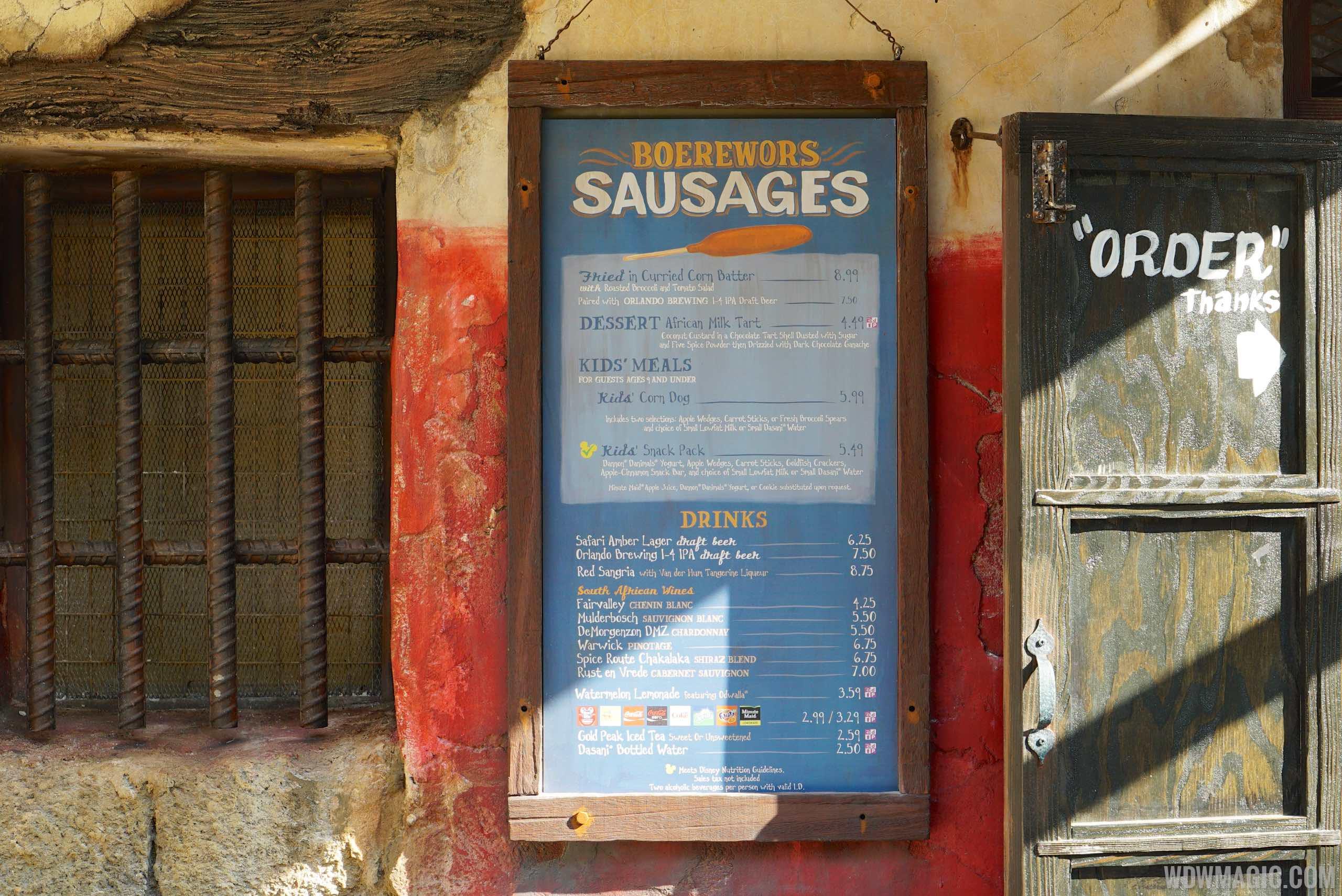 Harambe Market menu - Boerewors Famous Sausages
