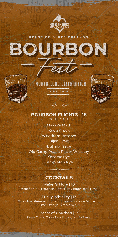 Bourbon Fest menu - June 1st - 30th 2019