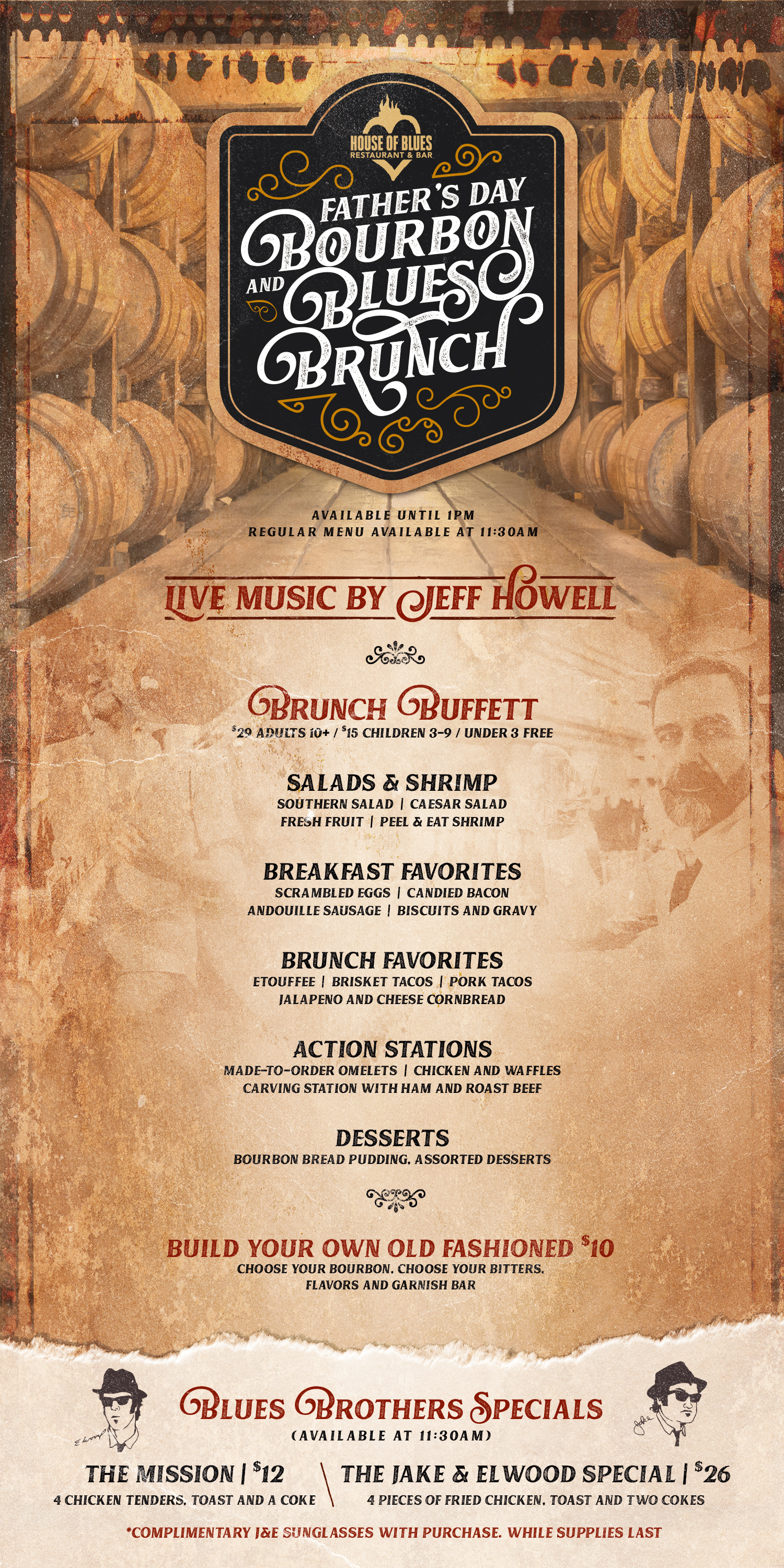 Father's Day Bourbon and Blues Brunch Menu June 16th 2019
