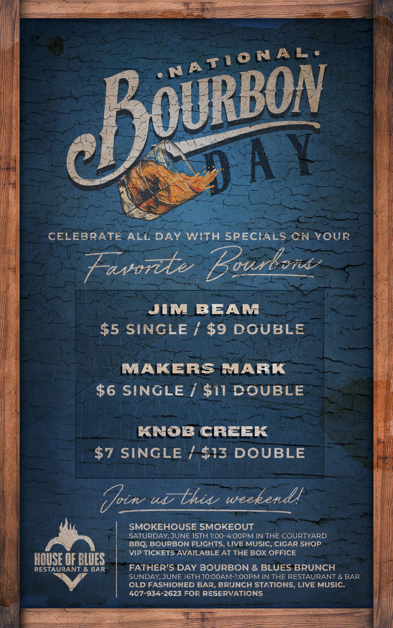 National Bourbon Day Menu June 14th 2019