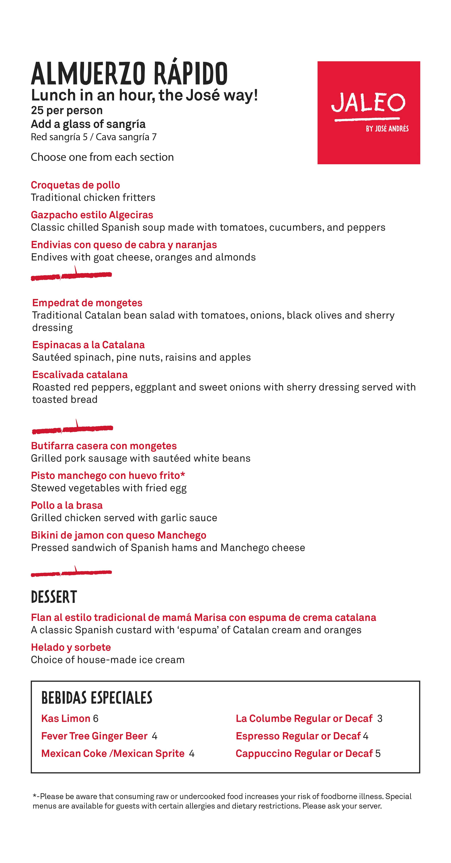 Almuerzo Rápido menu at Jaleo Disney Springs