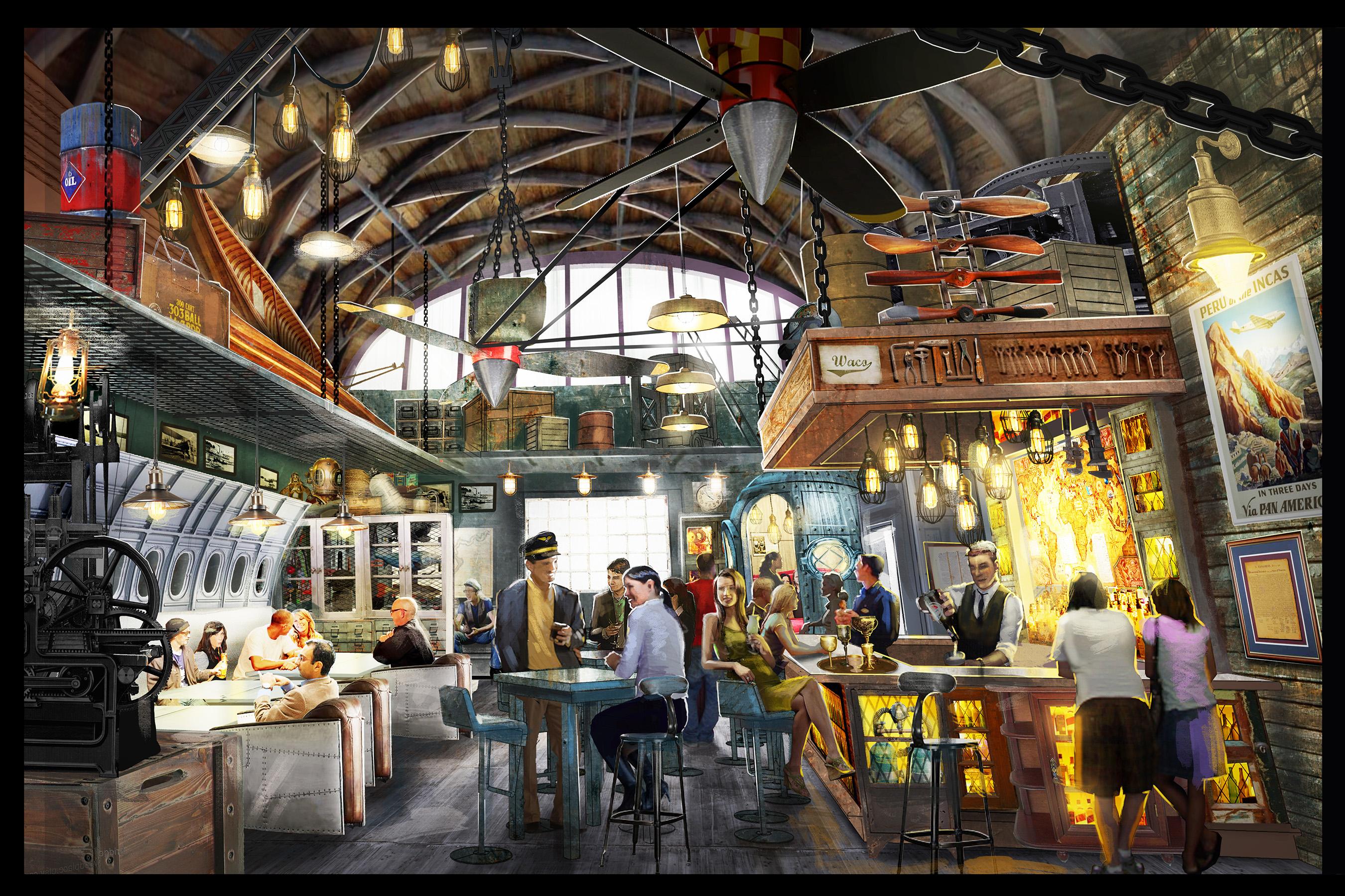 Jock Lindsey's Hangar Bar concept art - Interior