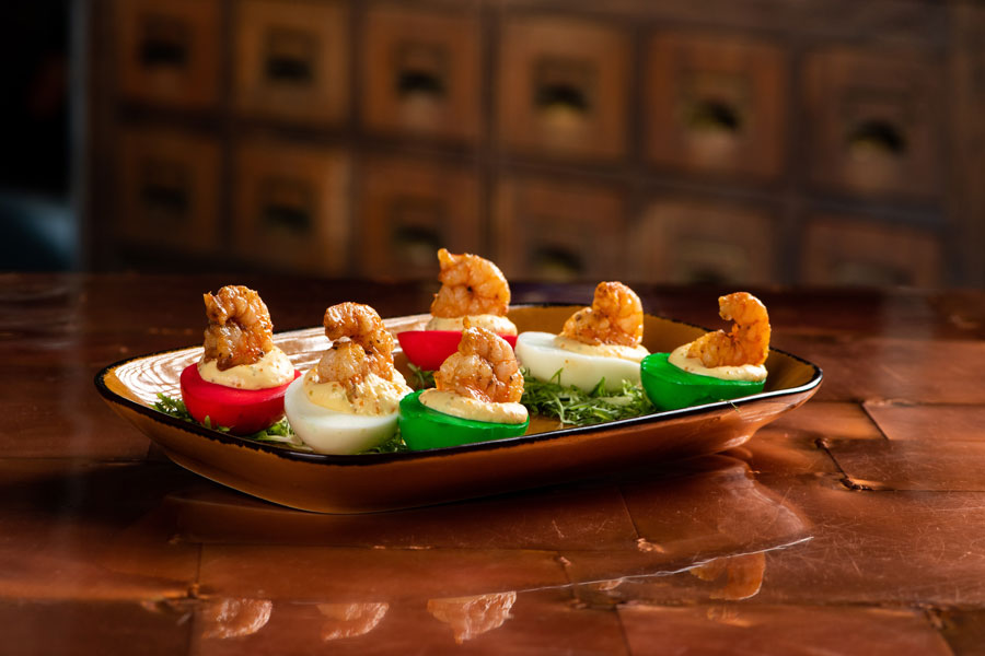 C9 Light Deviled Eggs: Colored eggs with shrimp and tobiko caviar.
