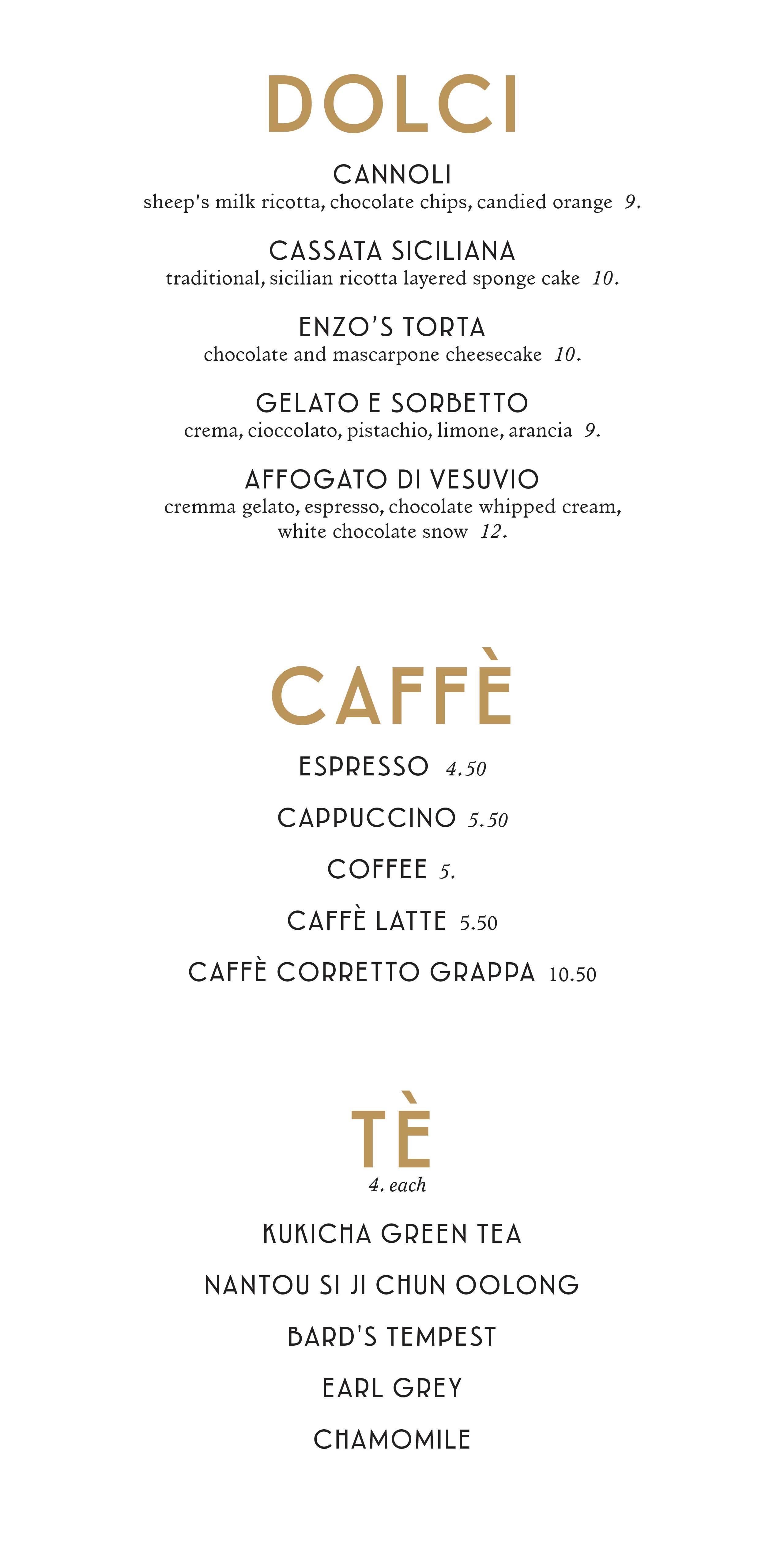 Maria & Enzo's menus - July 2019